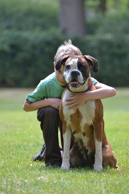 lonely kid with emotional service dog companion