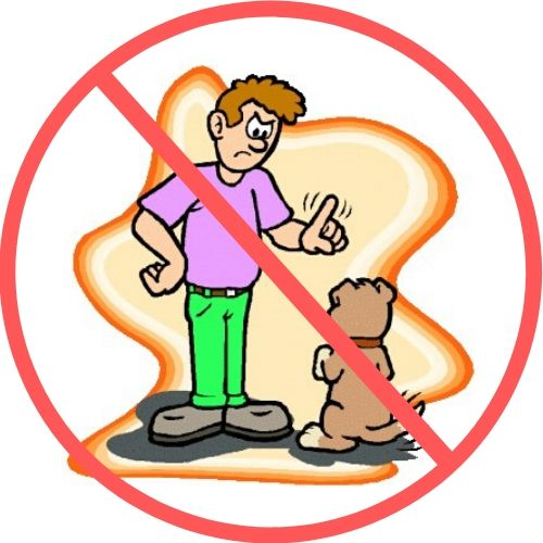 man scolding dog with a red line through it