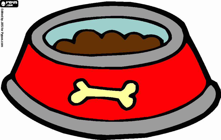 dog dish with food in it