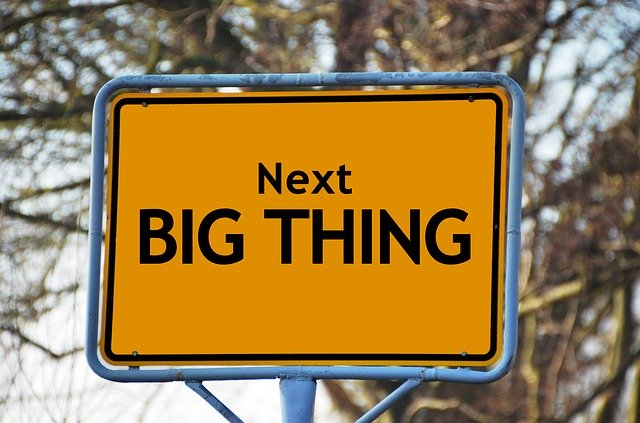 """Road sign that says """"Next Big Thing"""""""
