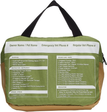 Back side of dog first aid kit listing contents