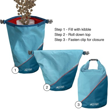 Blue Kurgo dog kibble carrier showing food being put in and top folded down to secure