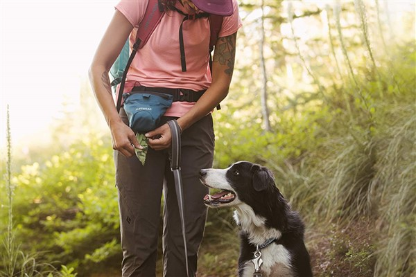 Ruffwear pack out bag for hiking and camping with dogs on person