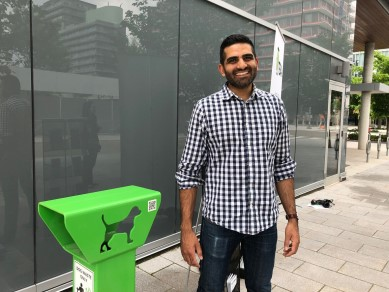 Dog poop receptacle at Toronto, ON condo