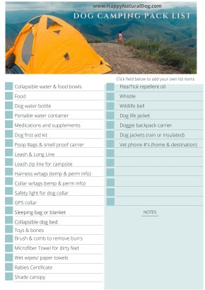 Camping with Dogs Packing list