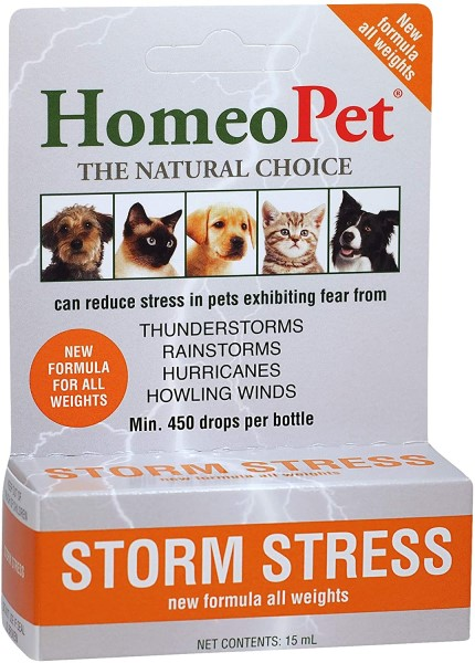 Homeopet Storm Stress remedy for dog thunderstorm anxiety
