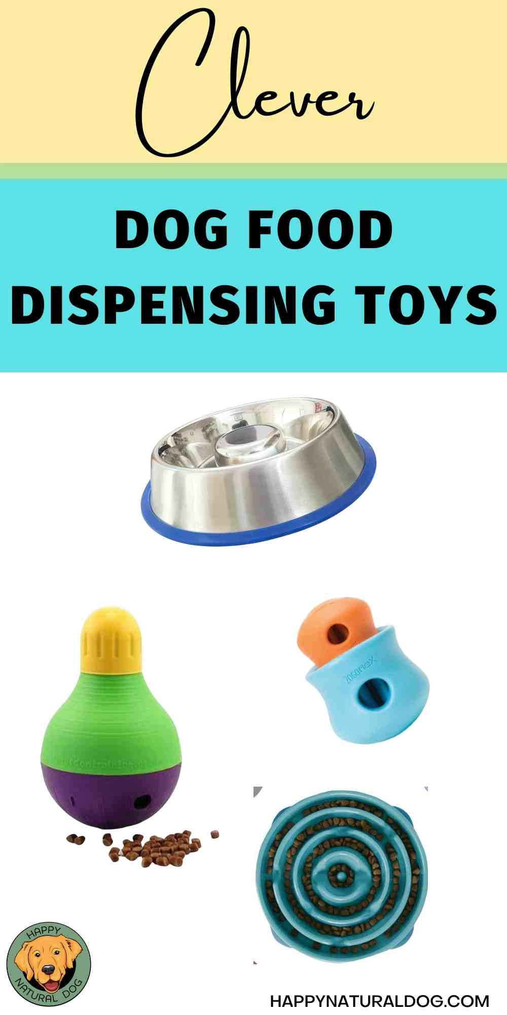 Clever dog food dispensing toys pin