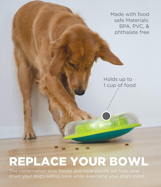 dog using outward hound wobble board food dispensing toy for dogs