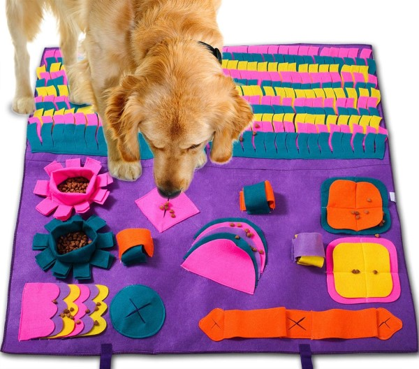 Multi sensory purple snuffle matt food puzzle toy for dogs