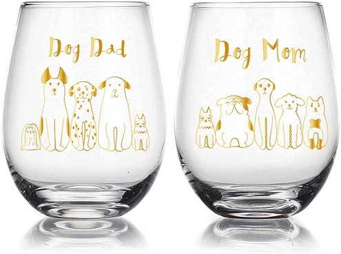 Dog Dad and Mom Wine Glass gifts for dog lovers