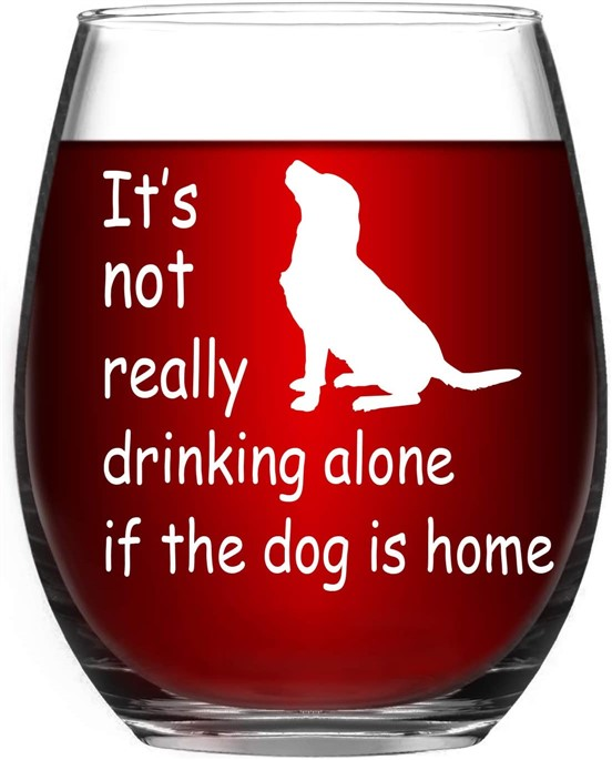 Wine glass gift for dog owners