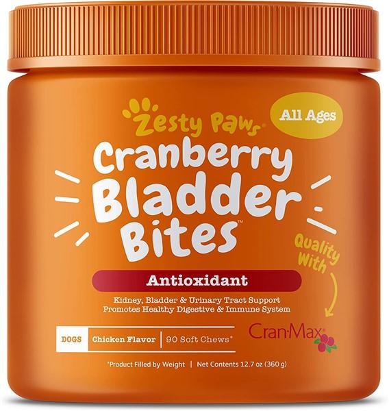 Zesty Paws Bladder Bites Cranberry and D Mannose for dog UTIs