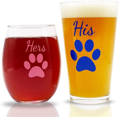 His and Hers Beer and Wine Glasses