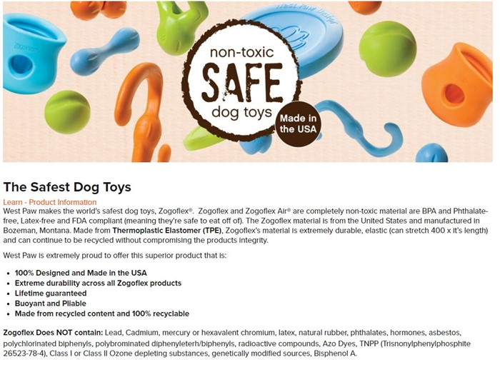 west paw product information about their best teething toys for puppies