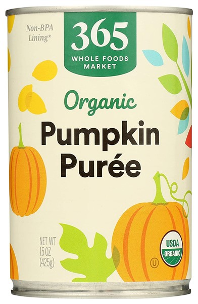 365 Organic canned pumpkin for dogs