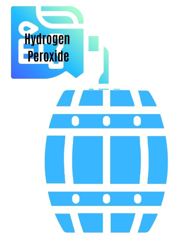 hydrogen peroxide being poured on rawhides in a barrel