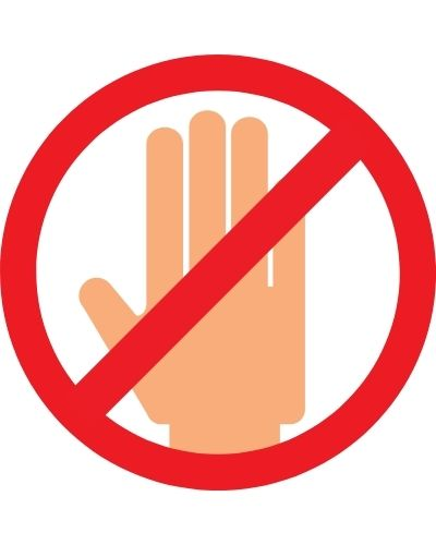 Halt hand signal to signify don't do these for swollen anal glands